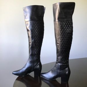 Cole Haan Black Leather Cuban Heel Knee hi Boots